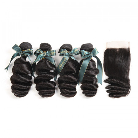 Brazilian Human Hair 4*4 Lace Closure With 4 Bundles Loose Wave Weaves