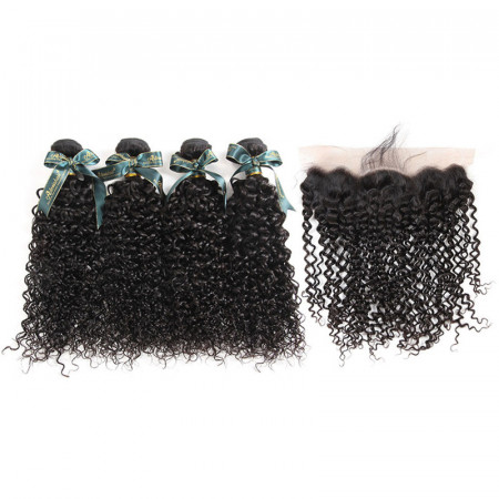 8A Unprocessed Brazilian Human Curly Hair Weave 4 Bundles With 13*4 Lace Frontal Closure