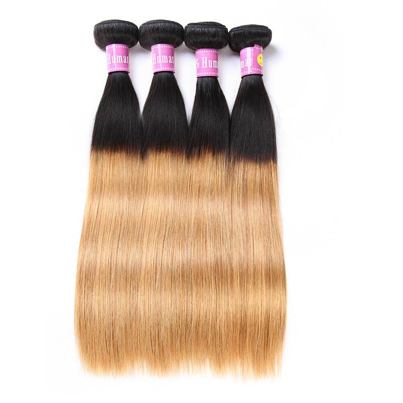 1b27 Ombre Color Brazilian Straight Hair Weave Bundles 4 Pcs On