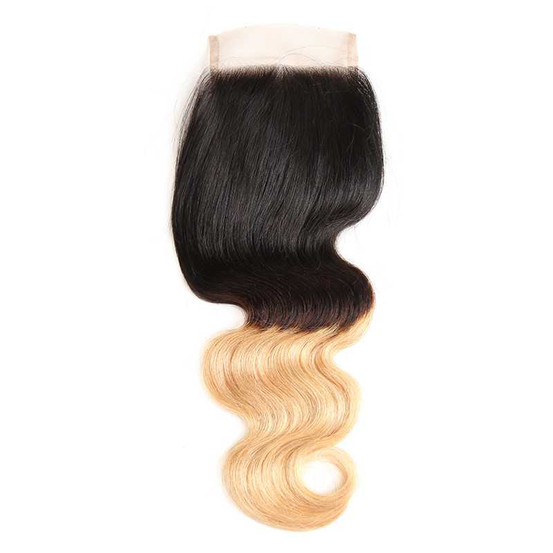 Ombre Body Wave Hair 44 Lace Closure With Baby Hair 1b427 Hair
