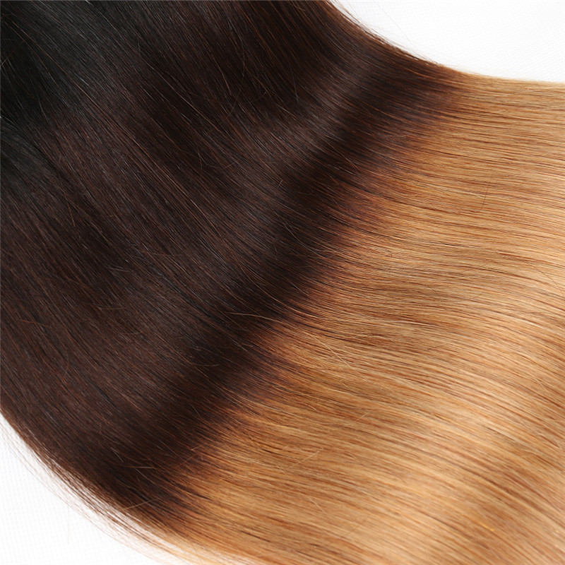 Ombre Color 1b427 Brazilian Straight Hair Weave 4 Pcs With 134