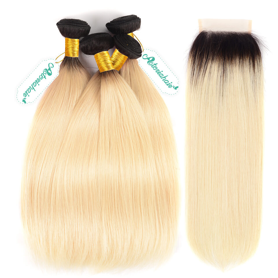 Ombre Hair Color 1b613 Straight Hair Weave 4 Bundles With Lace