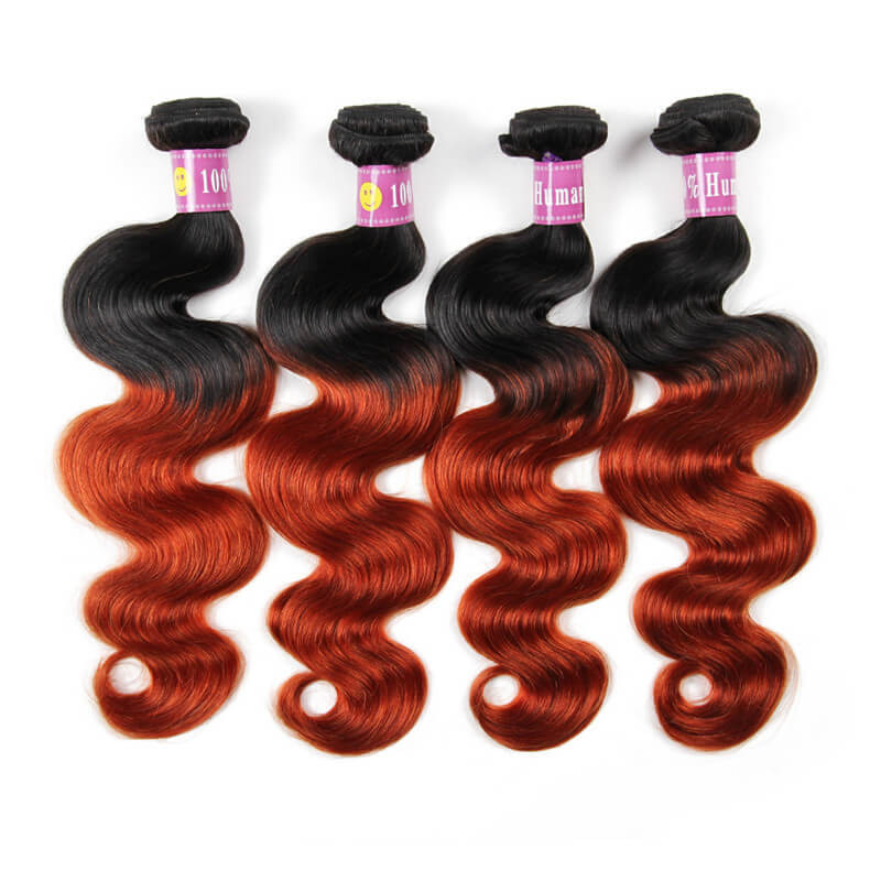 Ombre Body Wave Hair 1b350 Color Virgin Body Wave Weave 4 Package