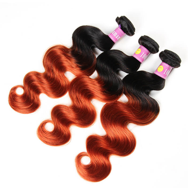Ombre Hair Color 1b350 Body Wave Weave Real Virgin Human Hair 3