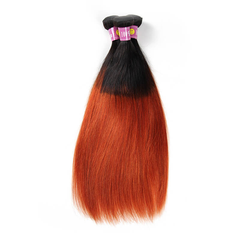 Ombre 1b350 Color Straight Human Hair Wave Weave 3 Bundles In Stock
