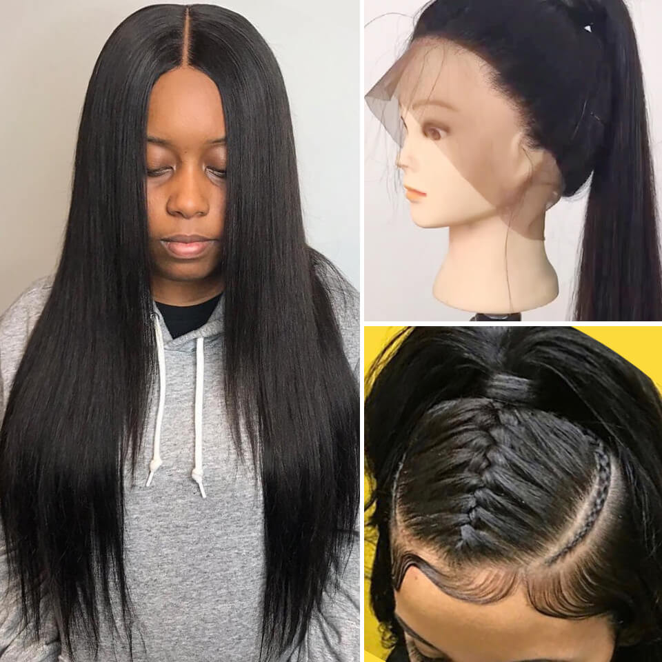 360 Lace Frontal Wigs Virgin Straight Hair Cheap Real Hair