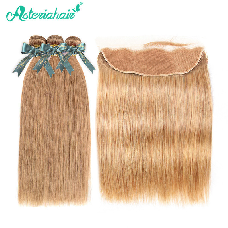 Asteriahair 27 Hair Color Straight Hair 3 Bundles And 134 Lace