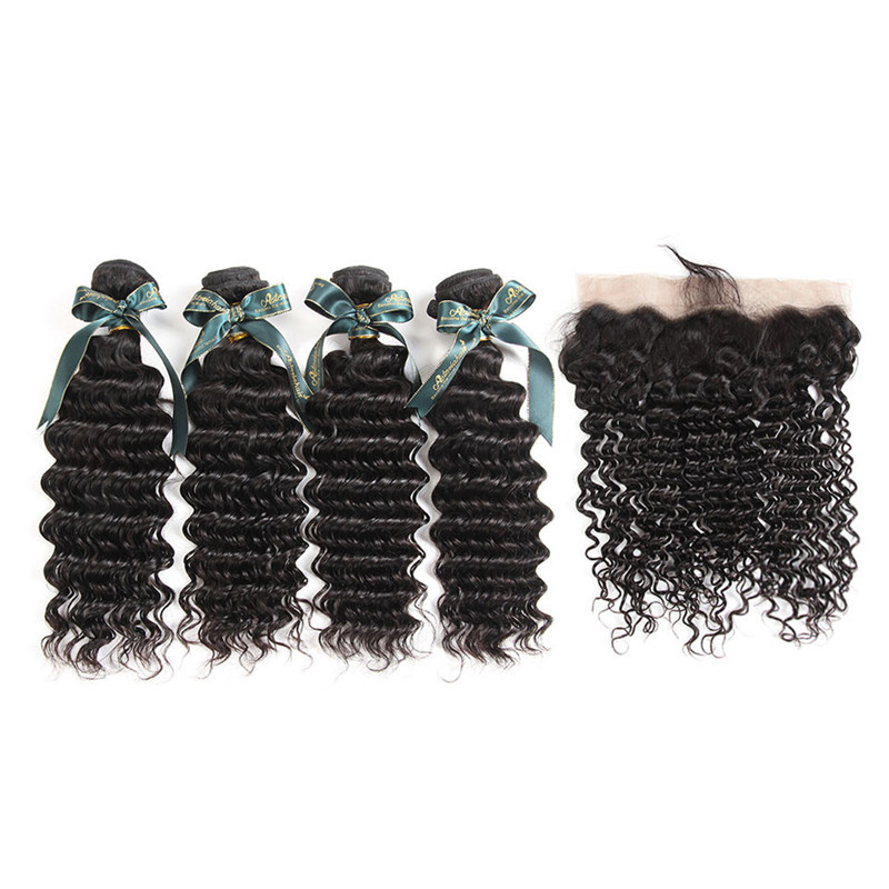Best Human Hair Weaves 4 Bundles Brazilian Deep Wave And 134 Lace