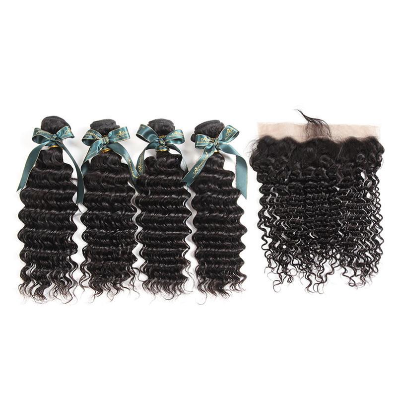 Best Human Hair Weaves 4 Bundles Brazilian Deep Wave And 134 Lace