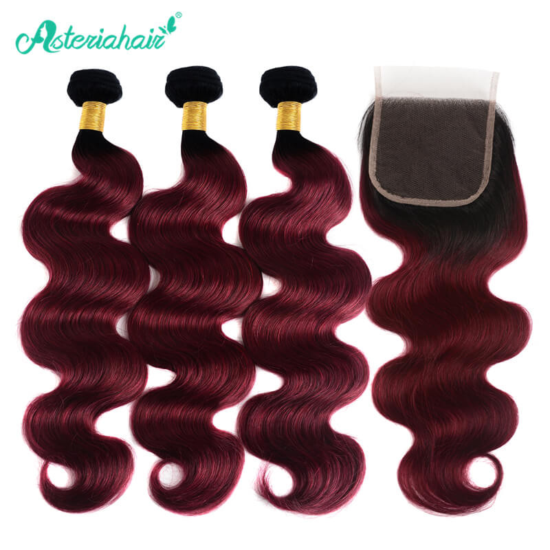 1b 99j Hair Color Brazilian Body Wave 3 Bundles With