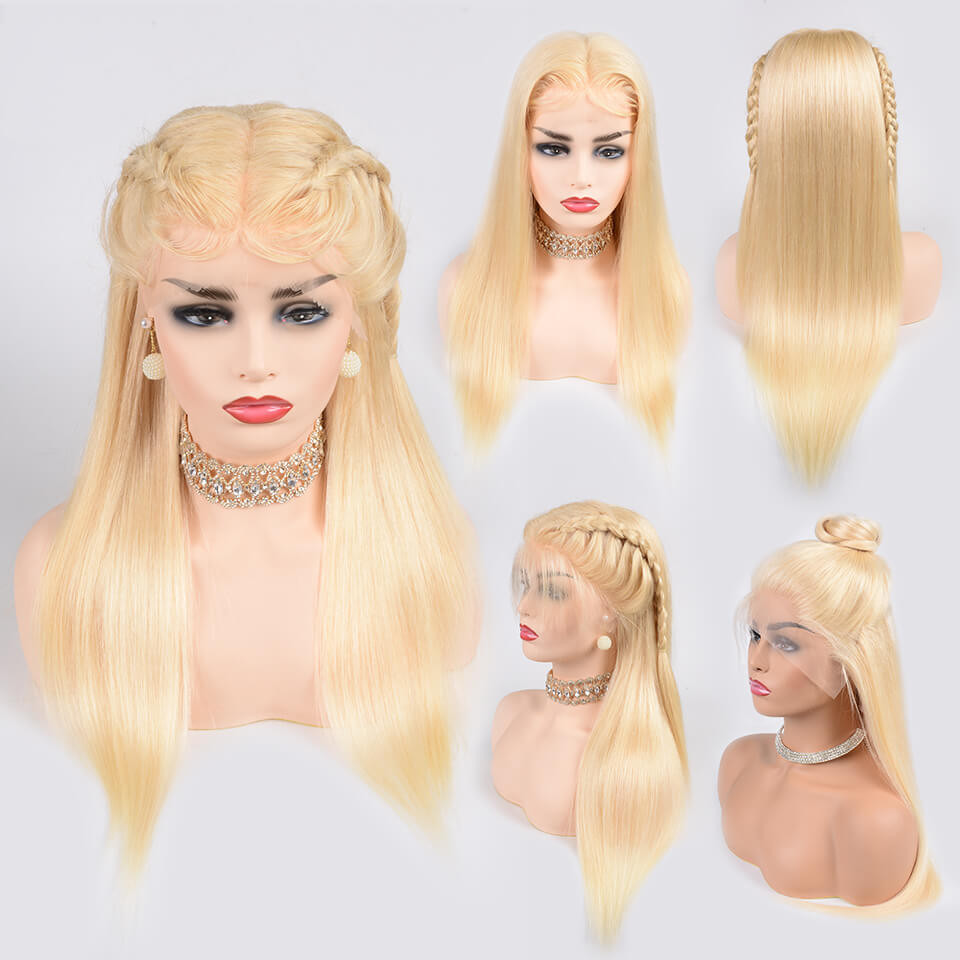 613 Blonde Straight Lace Front Wigs Platinum Hair Pre Plucked