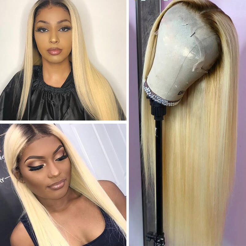 Ombre Color 1b613 Lace Frontal Wigs Straight Hair Wigs In Stock