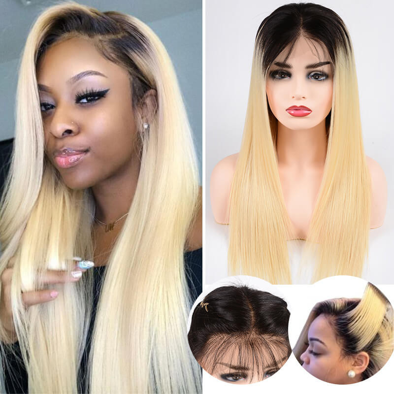 Ombre Color 1B/613 Lace Frontal Wigs Straight Hair Wigs In Stock