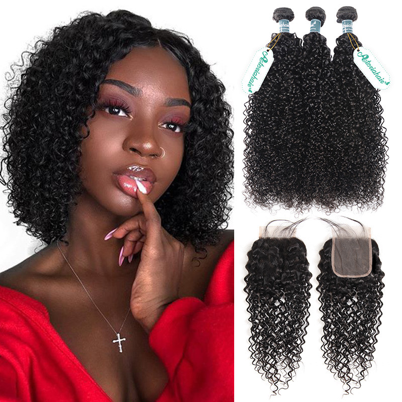 Virgin Curly Hair 3 Bundles With Lace Closure Human Hair Curly Afro Weave