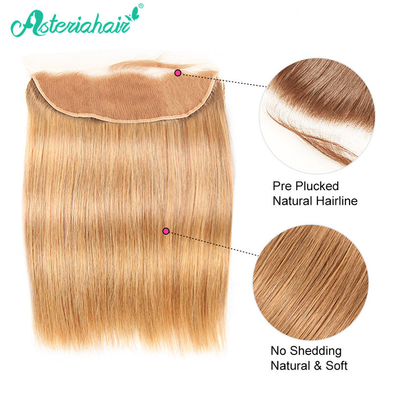 Asteriahair 27 Hair Color Straight Hair 4pcs With 134 Lace Frontal