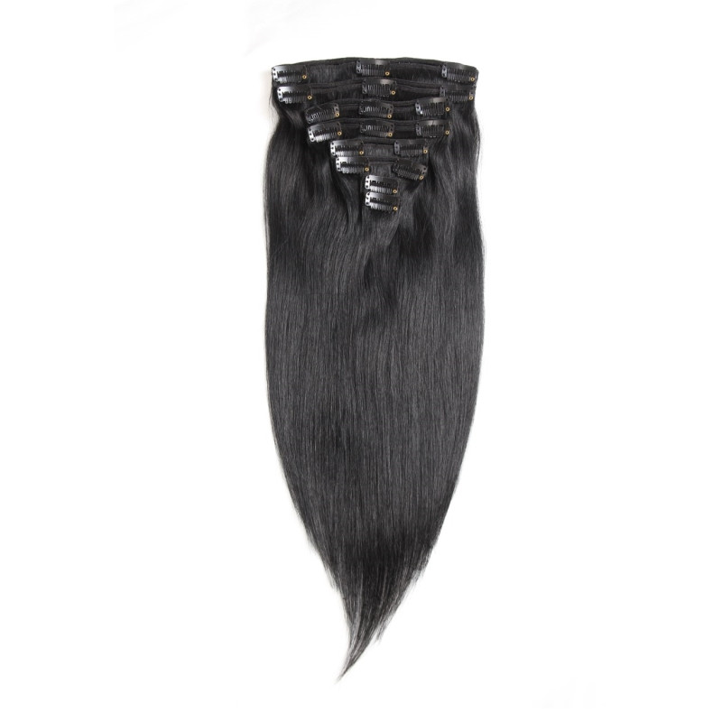 Dark Color Clip In Hair Extensions Real Virgin Hair Extension In