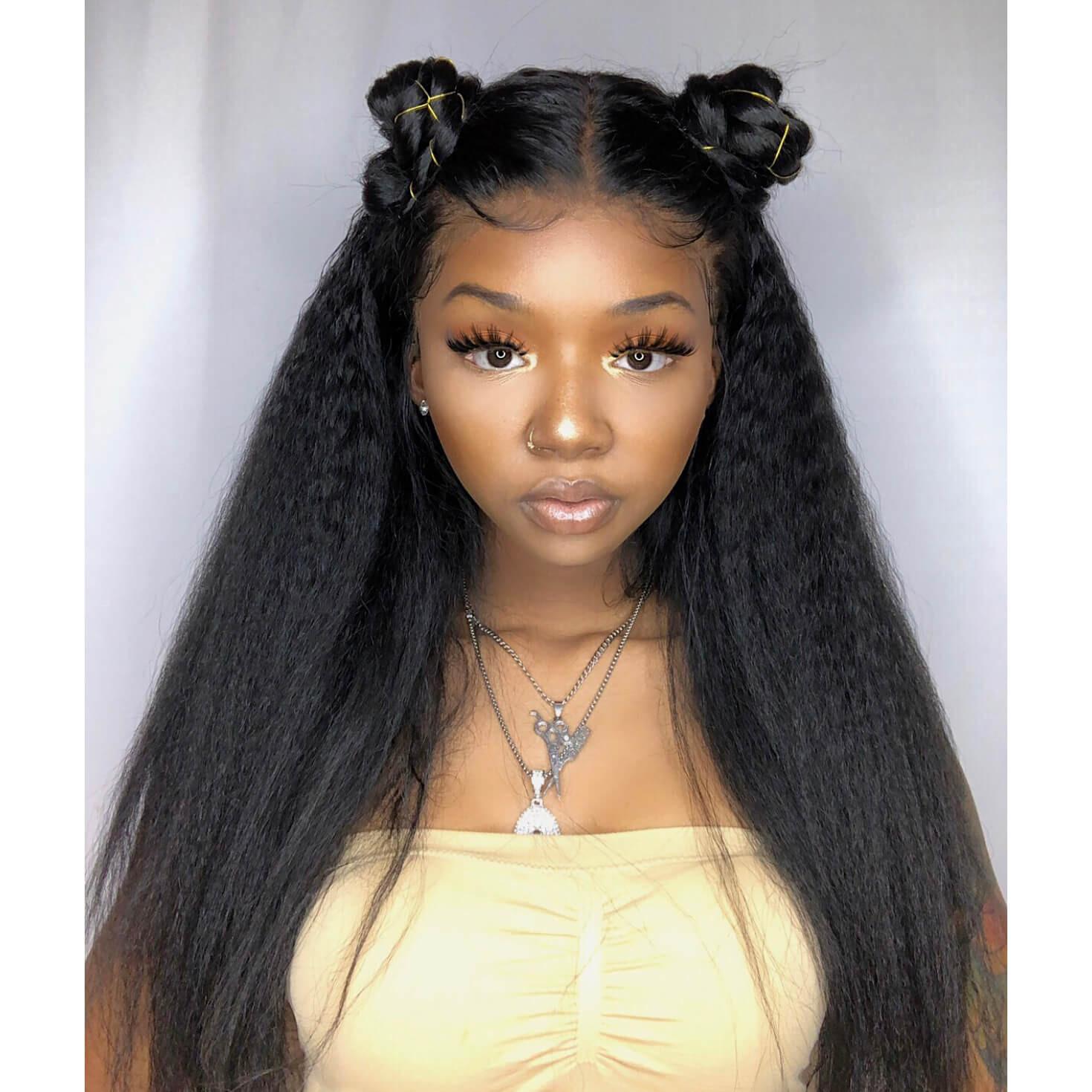 2650bd33865 Yaki Hair Lace Front Wig Kinky Straight Human Hair Wigs 130-200 ...