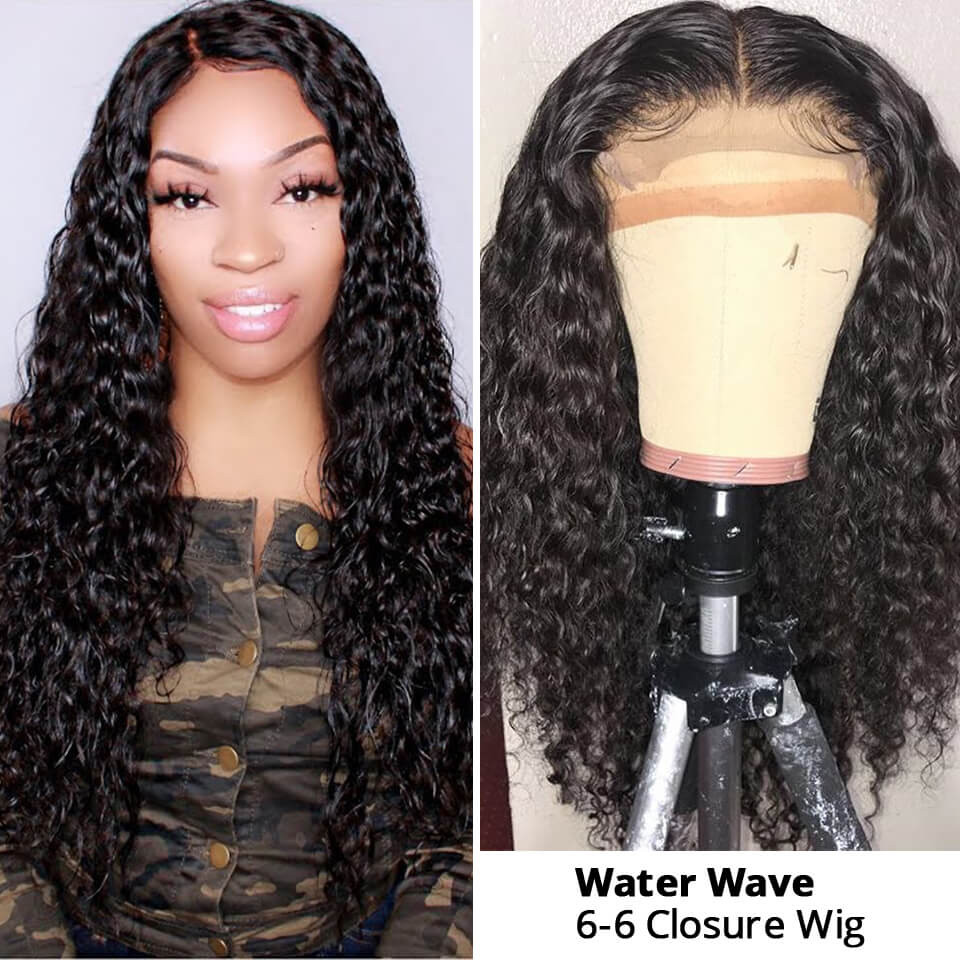 6x6 Lace Closure Wig Water Wave Closure Wigs 6x6 Human