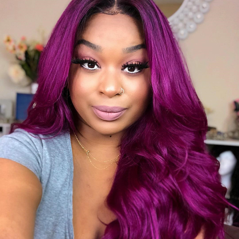 100 Human Hair Body Wave Lace Frontal Ombre Wigs 130 250
