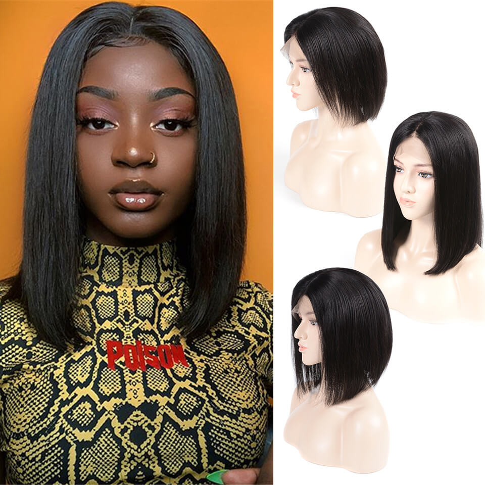 130%-180% density bob lace front virgin hair straight wigs with baby hair