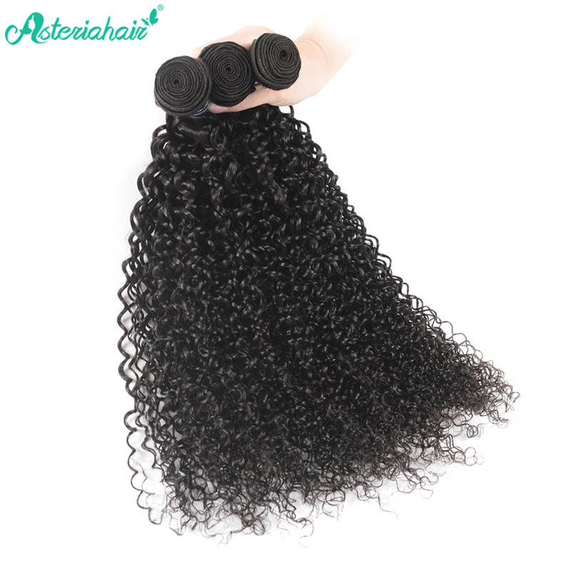 Virgin Curly Hair 3 Bundles With Lace Closure Human Hair Curly Afro