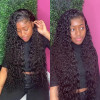 8A Wet And Wavy Unprocessed Brazilian Human Hair Weave 4 Bundles With 13*4 Lace Frontal Closure