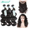 Brazilian Hair Human Hair Weave  Body Wave 3 Bundles With 360 Lace Frontal