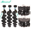 High Quality Brazilian Loose Wave Virgin Hair 3 Bundles With Ear To Ear Lace Frontal