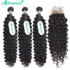 4*4 Lace Closure With Brazilian Deep Wave Bundles Human Virgin Hair