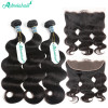 8A Unprocessed Brazilian Human Hair Body Wave Weave 3 Bundles With 13*4 Lace Frontal Closure