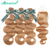 #27 Color Honey Blonde Body Wave Weave 3 Bundles With 4*4 Closure Free Part Lace Closure