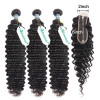 Asteria Hair Brazilian Deep Wave Weaves with Closure 2*6