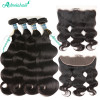 8A Brazilian Virgin Hair Body Wave 4 Bundles With 13x4 Lace Frontal