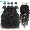 8A Grade Brazilian Curly Hair With Closure 4 Bundles With Lace Closure
