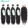 Brazilian Human Hair 4*4 Lace Closure With 4 Bundles Deep Wave Weaves