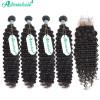Brazilian Human Hair 4*4 Lace Closure With 4 Bundles Deep Wave Weaves