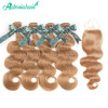 #27 Color Honey Blonde Body Wave 4 Bundles With Free Part 4*4 Lace Closure