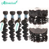 Human Hair Weaves 4 Bundles Brazilian Loose Wave Weaves And 13*4 Lace Frontal Closures