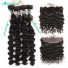 Unprocessed Brazilian Loose Deep Hair Weaves 4 Bundles With 13*4 Lace Frontal Closure