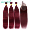 3 Bundles Straight Human Hair With Closure 99j Burgundy Color