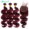 3 Bundles Body Wave Weaves With Closure 99j Burgundy Hair Color