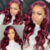 Burgundy Hair Color Lace Front Wig Body Wave Colored Wigs