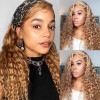 #27 Honey Blonde Hair Color Water Wave Lace Front Wig