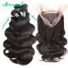 4 Bundles Virgin Hair with 360 Lace Frontal Closure Body Wave Hair