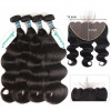 100% Virgin Human Hair Brazilian Body Wave 4 Bundles With 13X6 Lace Frontal