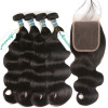 Malaysian Body Wave Weave 4 Bundles With Lace Closure 4*4