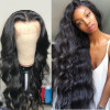 Body Wave Full Lace Wigs Natural Black Virgin Hair 180% Density