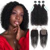 Virgin Curly Hair 3 Bundles With Lace Closure Human Hair
