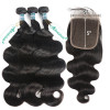 Body Wave 3 Bundles With 5*5 Lace Closure Unprocessed 100% Human Hair
