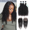 Kinky Curly Hair 3 Bundles With 5*5 Lace Closure Soft Hair